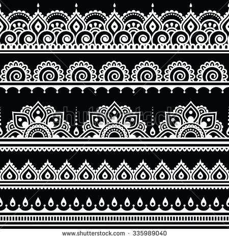 Mehndi Indian Henna Tattoo Seamless White Pattern On