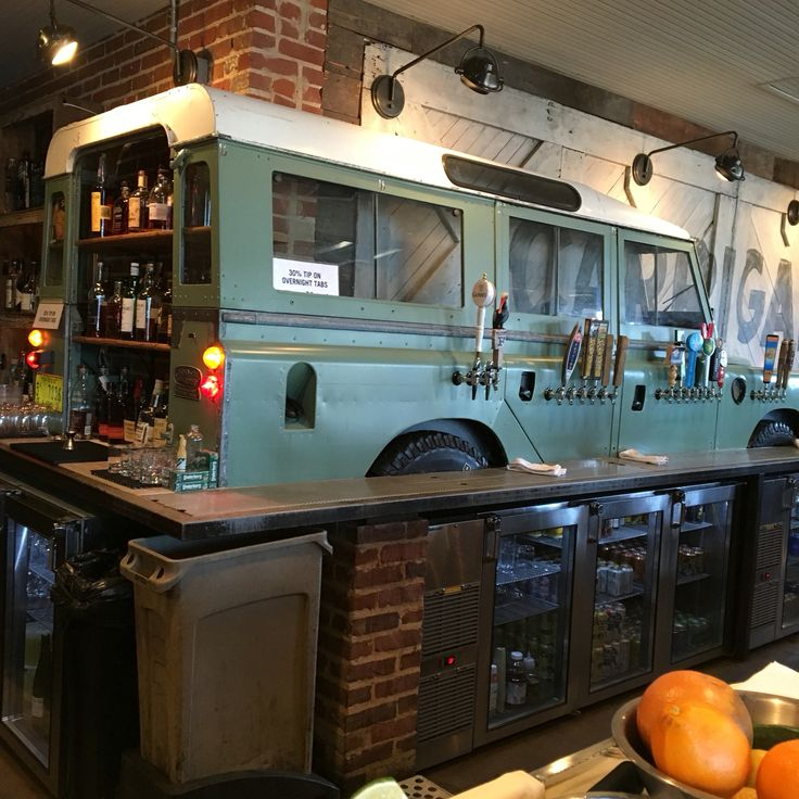 Series Land Rover turned Bar in Birmingham, Al Garage, ideas, man cave, workshop, organization, organize, home, house, indoor, storage, woodwork, design, tool, mechanic, auto, shelving, car.