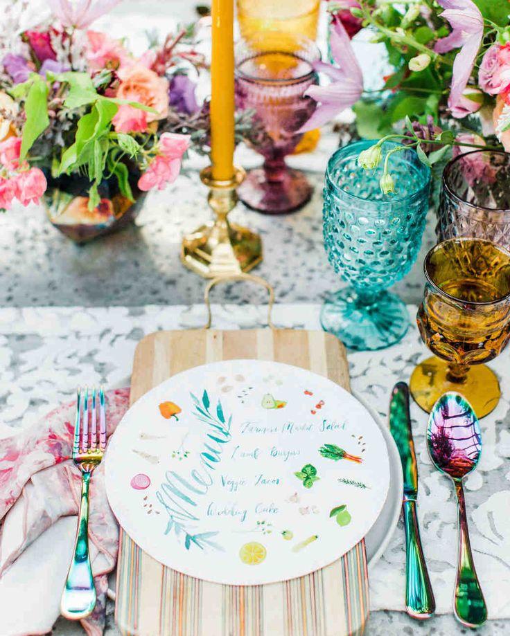 Spring Wedding Ideas from Real Celebrations   Martha Stewart Weddings - The meal's farm-to-table ingredients were illustrated on playful, circular menus at an outdoor spring wedding. #springwedding #weddingideas #weddingcolors