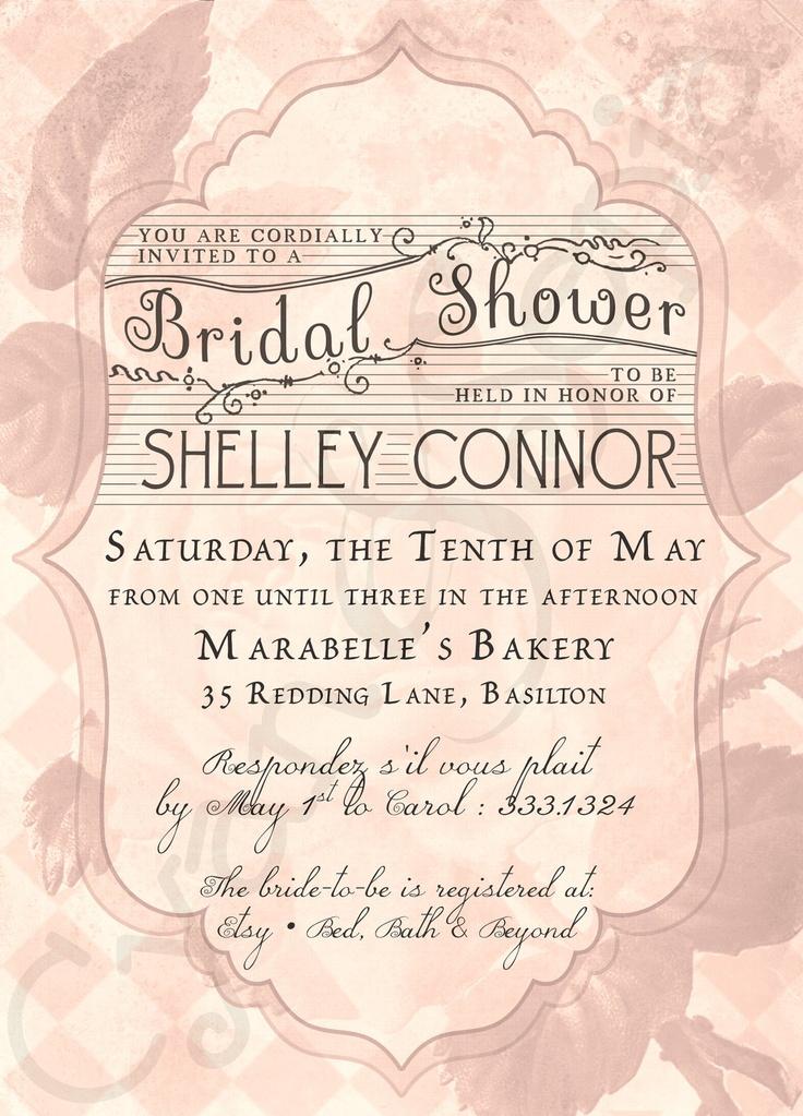 Printable Bridal Wedding Shower Invitation : French Rose : Vintage, Cottage, Victorian, Floral : cyanandsepia.etsy.com