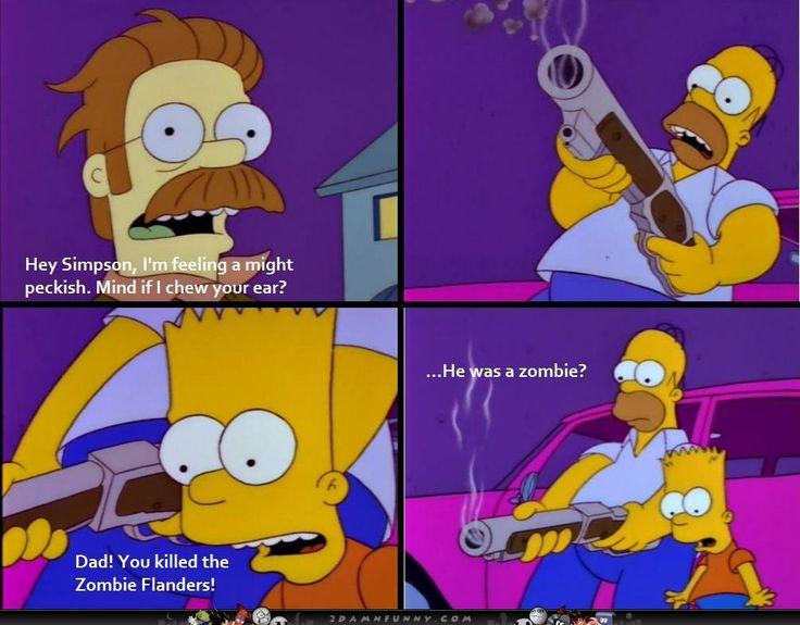 Homer kills zombie Ned flanders | Geek | Pinterest | The o ...