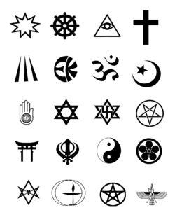 1e rij: baha'i, boeddhisme, Cao Dai, christendom 2e rij: druïdisme, Eckankar, hindoeïsme, islam 3e rij: jaïnisme, jodendom, raëlisme, satanisme 4e rij: shinto, sikhisme, taoïsme, Tenrikyo 5e rij: Thelema, Unitaristisch Universalisme, wicca, zoroastrisme