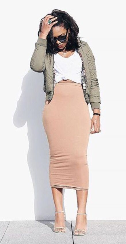 green bomber, nude jersey midi skirt, white tied-up tee Pinterest: ▶︎▷ @sharifaholivia ◁◀︎