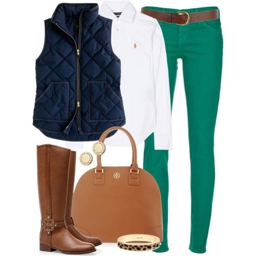 White Oxford shirt with navy blue vest and green pants!
