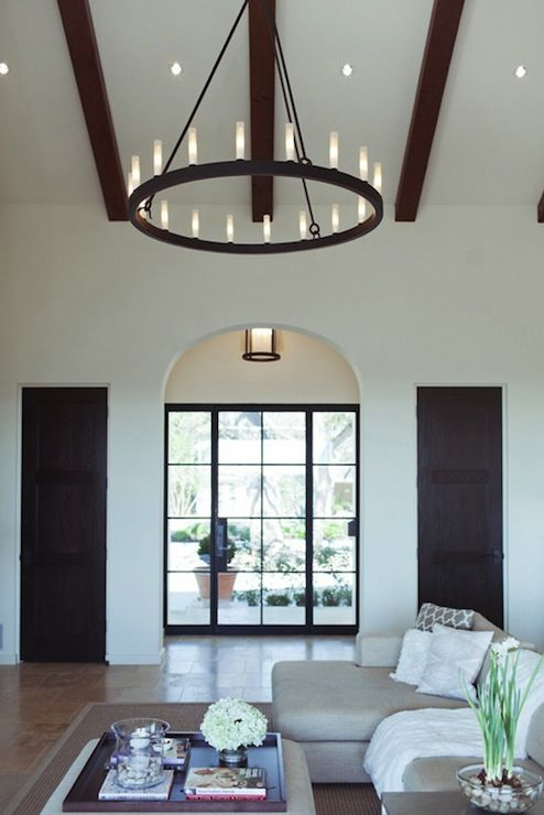 SallyL: Design Sponge - Camille Styles - Vaulted ceilings with wood beams, tiled floors and dark ...