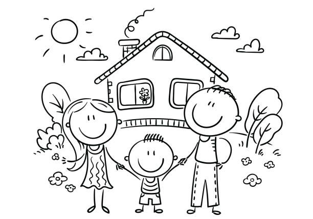 Happy Family With One Child Near Their House Black And White Ilustracao De Arte Vetorial In 2020 Family Drawing Family Cartoon Happy Cartoon