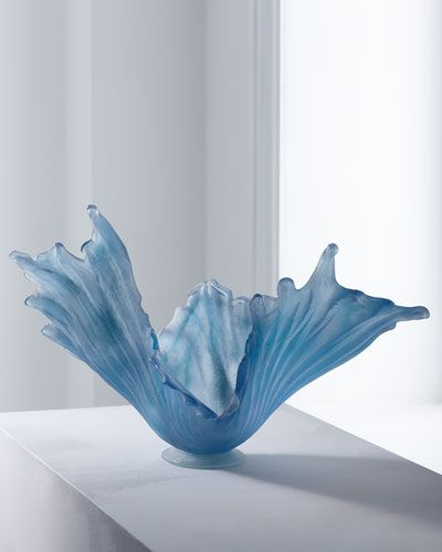 "Amanda Brisbane	 Pale Ice Glass Bowl      EXCLUSIVELY OURS.     By artist Amanda Brisbane.     Handcrafted of sandblasted glass.     18""L x 8""D x 10""T.     For decorative use only. Neiman Marcus"