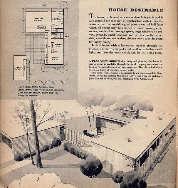 1949 Popular Home wrap around: Houses Living, Living Rooms, 1949 Popular Hom, Small Window, Design Ideas, Design Photo, Design Living, Midcentury, Modern Houses Design