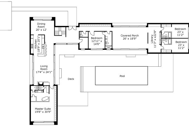 Switch the kitchen dining for a very open concept like for Odd shaped house plans