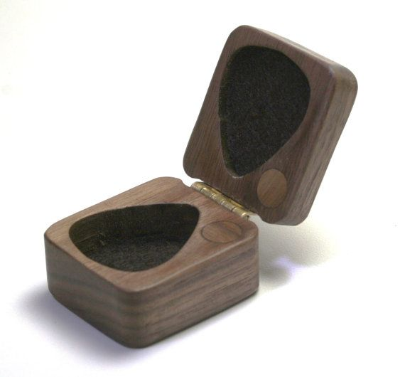 Guitar pick box ooak black walnut hard wood felt lined magnetic latch perfect gift on Etsy, $27.00