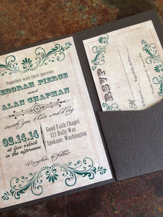 Rustic wedding invitation with wood textured card stock pocket fold. Western wedding invitation. Country. Rustic chic.