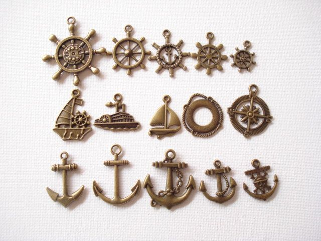 Lot 15 Navigation Bronze Charm Pendant Collection C353-7 by yooounique on Etsy