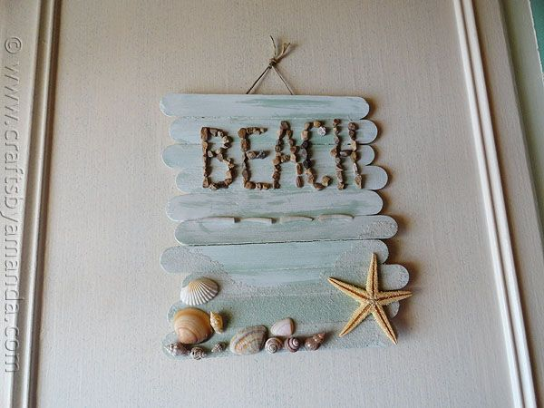 Craft Stick Beach Sign  -  perfect for those summer beach wood - sea shells - cute rocks - kids picked up while at the beach... you can even add a picture if you like.... Oh, thanks so much for sharing..  =  ): Beaches, Beach Crafts, Beach Theme, Stick Beach, Diy, Popsicle Sticks