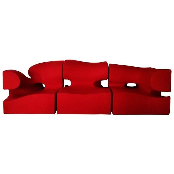 Contemporary Wide Living Room Set / Sofa By Ron Arad In Red Wool, 21... ($11,120) ❤ liked on Polyvore featuring home, furniture, sofas, red, modern classic furniture, classic modern sofa, modern contemporary furniture, steel frame sofa and wool sofa