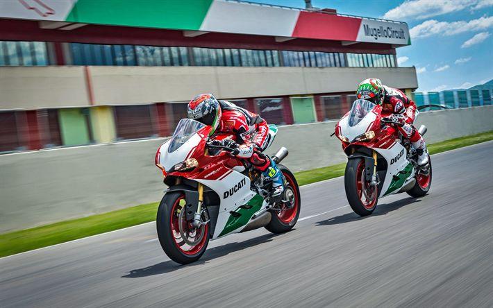 Lataa kuva Ducati 1299 Panigale, 4k, superbike, 2017 polkupyörää, ratsastajat, italian moottoripyörät, Ducati