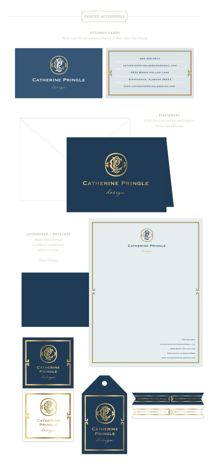 Branding Design for Catherine Pringle  |  www.EmilyMcCarthy.com | Luxury Branding, Logo, Monogram, Interior Designer Branding