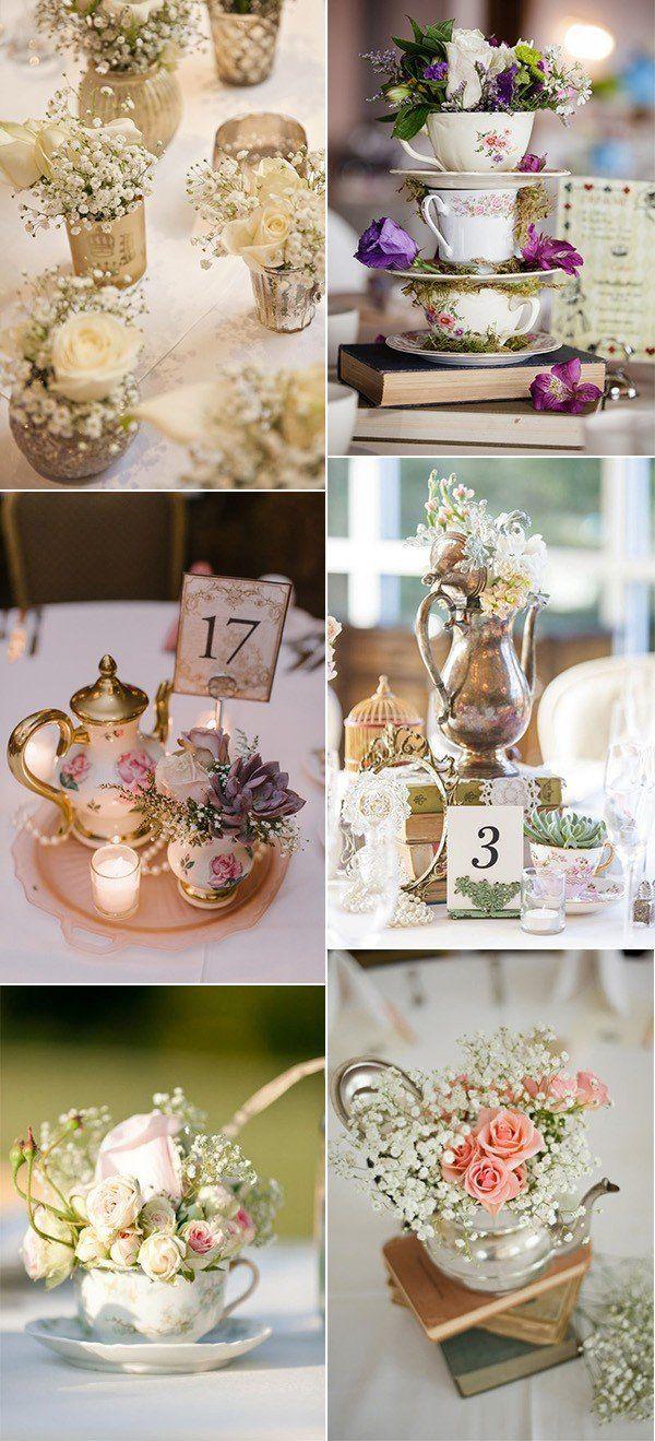 vintage wedding centerpiece decoration ideas with teacups