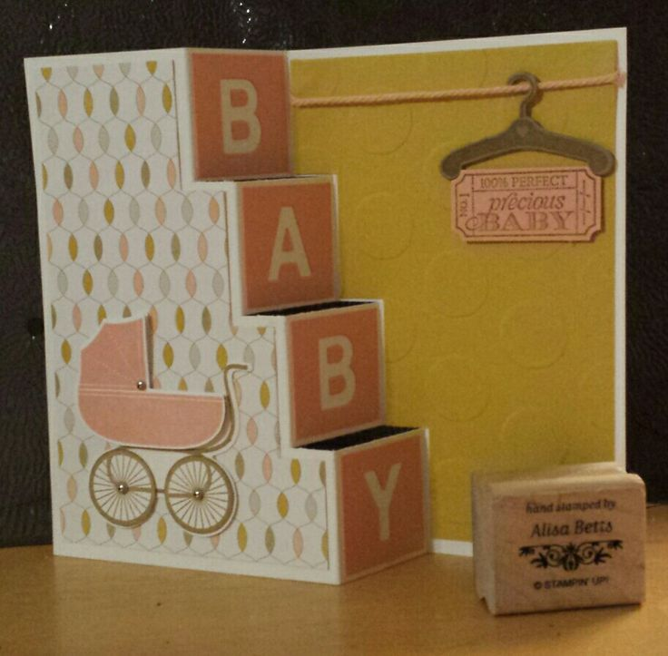 Stampin up 2014-15, Something for Baby, That's the Ticket, Stair step card, alisabetts.stampinup.net