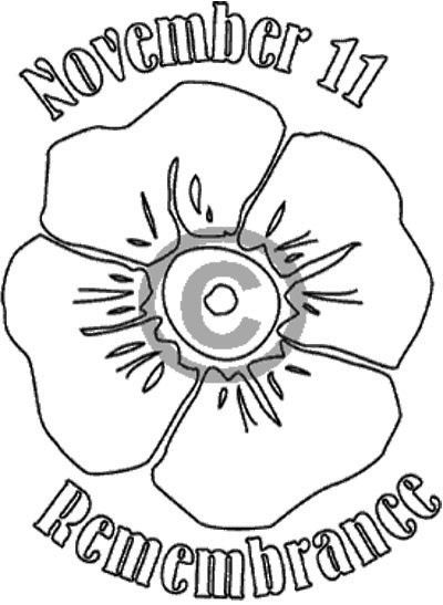 Remembrance Poppy Badge Coloring Page (Veteran's Day)