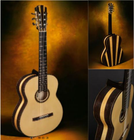 Classical Guitars Jeremy Clark, Canada Multi-wood Concert Model Classical Guitar Wenge & Satin wood/spruce 2013 $6,000.00 Inquire Here: 216.752.7502 Multi-wood Wenge/Satinwood sides and back, Engelmann spruce soundboard, ebony fingerboard, French polish of shellac finish, Scheller tuning machine heads, 650mm string length, hard shell case. #ClassicalGuitar #NewClassicalGuitars #CustomClassicalGuitars #UsedClassicalGuitars #ClassicalGuitarDealer