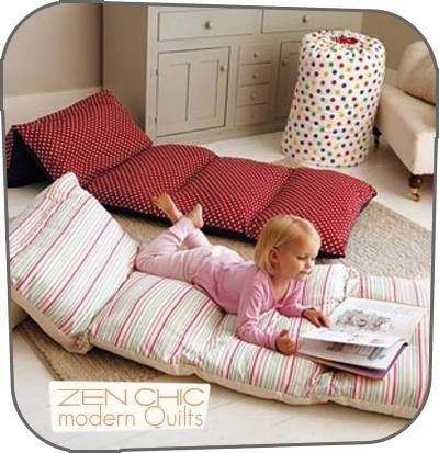 Fold a twin sheet in half long ways and sew ends together, next sew in five equal sections the size of a pillow case, next insert pillows leaving ends open to remove pillows and wash cover. Perfect for kids having friends overnight or so. Found at gltc.co.uk