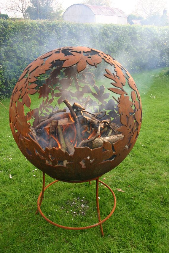 Fire Sphere 900mm Sculptural Fire Pit Leaf Design By