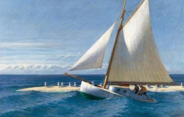 """""""Sailing Boat"""" d'Edward Hopper (1882-1967), l'un des plus célèbres artistes américains du XXe siècle. Il incarne la peinture américaine de son temps. Ses tableaux, étrangement silencieux, revêtent un caractère de mystère indéfinissable."""