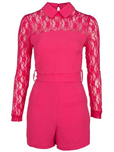 Ladies Womens Hot Pink Collared Longsleeve Lacey Playsuit Party Evening Short Belted Jumpsuit. Size:12 Amber Krystal http://www.amazon.co.uk/dp/B012J2SYMC/ref=cm_sw_r_pi_dp_s3PTvb0Q9992W