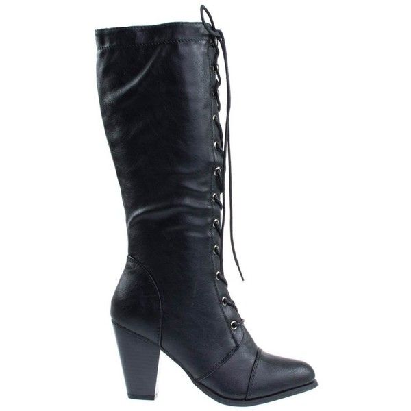 Camila36 Black by Forever Link, Women's Fashion Military Combat Boots... ($40) ❤ liked on Polyvore featuring shoes, boots, mid calf combat boots, black lace-up boots, chunky black boots, army combat boots and laced up boots