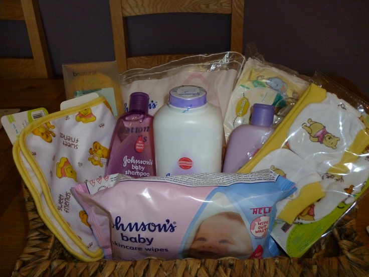 Bath time basket includes Johnson's Lavender Bedtime Bath, Johnson's Lavender Bedtime Shampoo and Johnson's Lavender Bedtime Talc, Johnson's baby wipes, Johnson's cotton wool balls, Johnsons baby oil gel, Winnie The Pooh Hat & Scratch mitt set, Winnie The Pooh Burping towel, 4 newborn nappies and a natural baby sponge. All baskets can be personalised with the extra cost of items added onto the base price. This basket costs £30 (+P if required)
