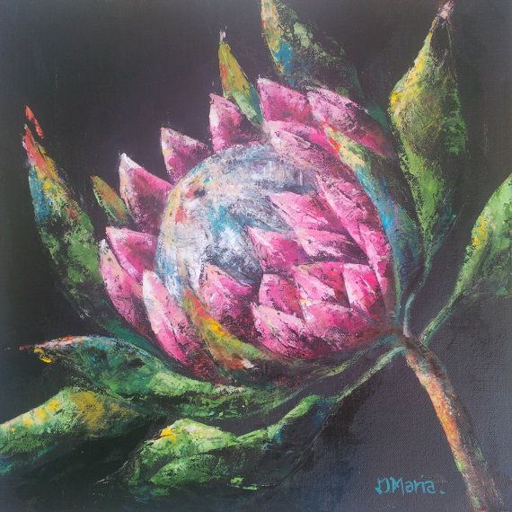 Original oil painting on canvas, abstract flower painting, palette knife oil painting, Abstract Art, Protea Flower Oil Painting, Home Decor