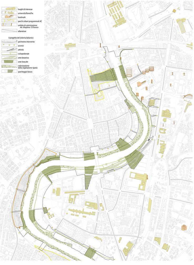 verdiana genovesi on Behance :OstienseDiffuso Orto botanico diffuso.  #riverfront #strategy #urban #connections #landscape #map #urbanism #map #action #plan #architecture #rome #tevere #marconi #ostiense