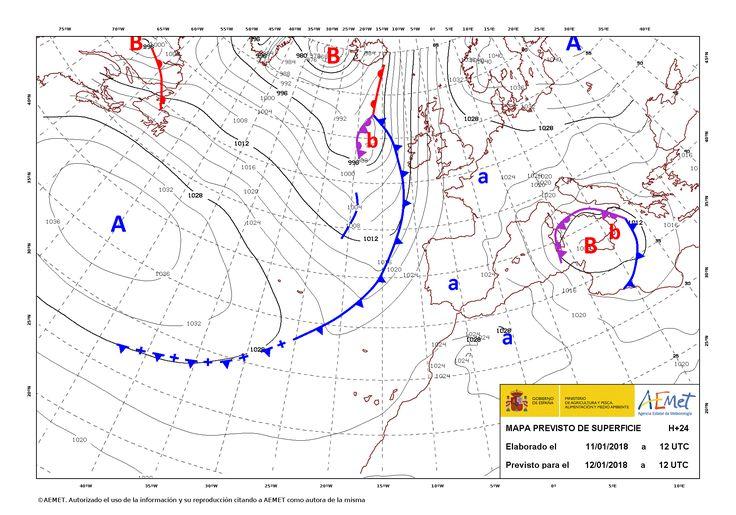 Fenómenos significativos Intervalos de viento fuerte en la desembocadura del Ebro y litoral oeste de Galicia. Predicción Predominio del tiempo