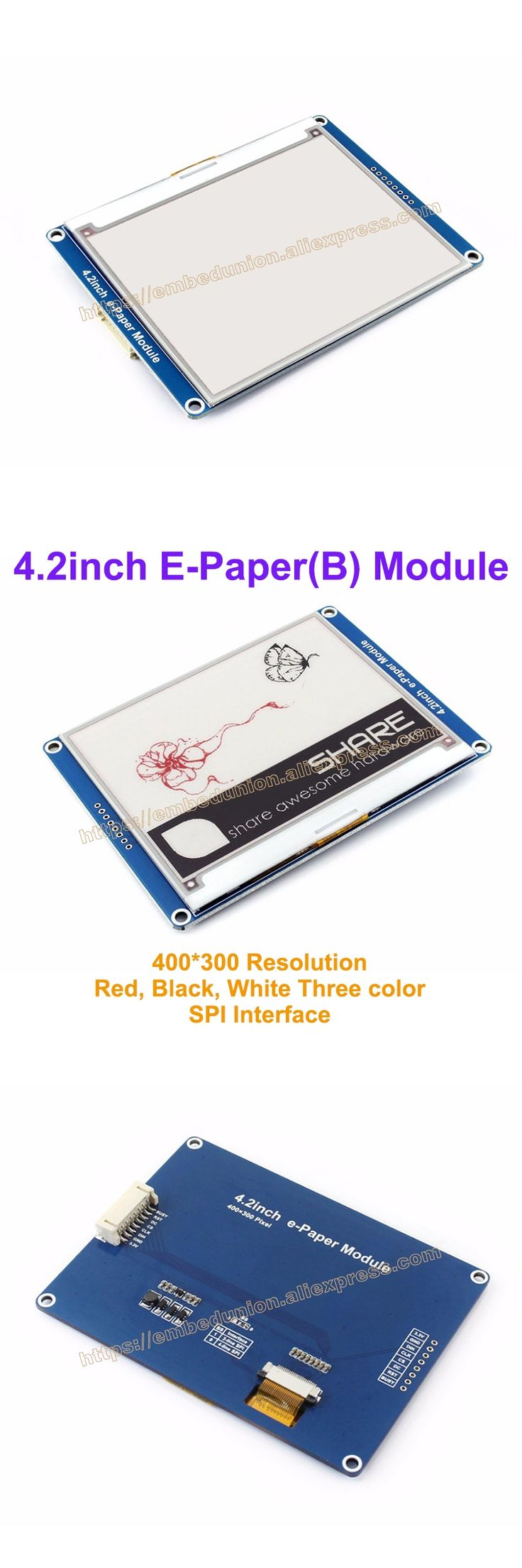 4.2inch e-paper(B) with base Board 400x300 Drive Demo board module display color:Red&black&white, No backlight, SPI interface