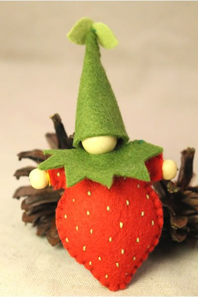 Sweet little hand-sewn strawberry - a beautiful little Waldorf-inspired gift!