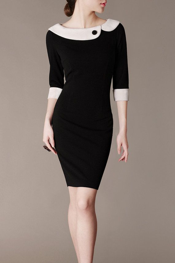 Hepburn Style Elegant Black and White Evening Dress Autumn Dress Sheath Perfect Curved on Etsy, $83.00