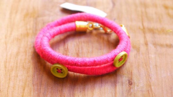Cotton Wrapped Fuschia Double BraceletKnitted Cord by FabLabCrafts