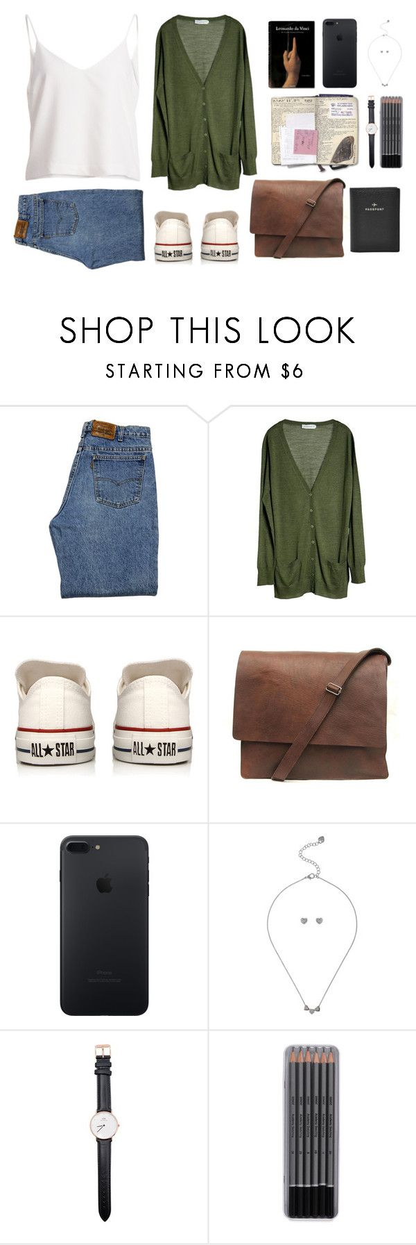 """Just going away"" by yasminferrare ❤ liked on Polyvore featuring Levi's, MÃ¥nestrÃ¥le, Converse, Taschen, Lipsy, Daniel Wellington and FOSSIL"