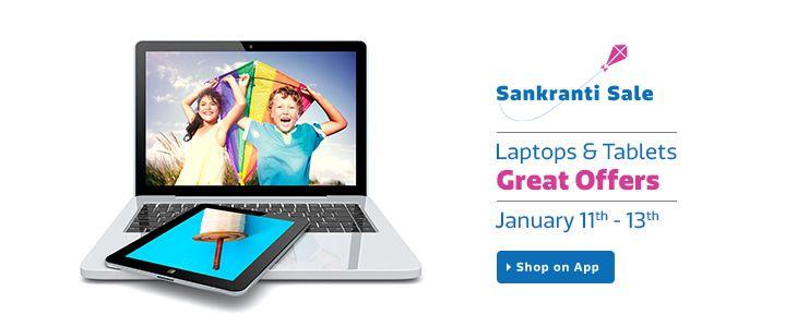 Flipkart 11-13 January Sankranti Sale offer : Flipkart Makar Sankranti Sale offers on Laptop Tablet - Best Online Offer