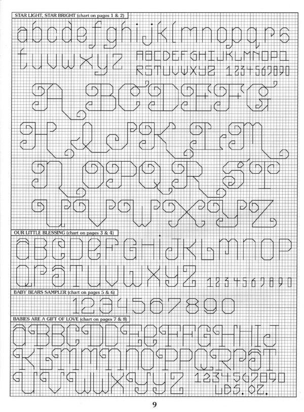 Schema punto croce Alfabeto punto scritto