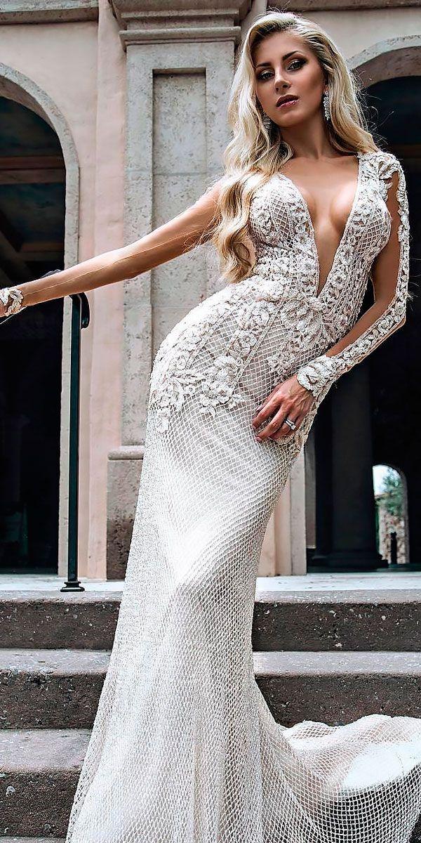 10 Best Wedding Dress Designers For 2017 ❤ wedding dress designers lace sheath illusion long sleeves deep plunging v neck galia lahav ❤ See more: http://www.weddingforward.com/wedding-dress-designers/ #wedding #bride