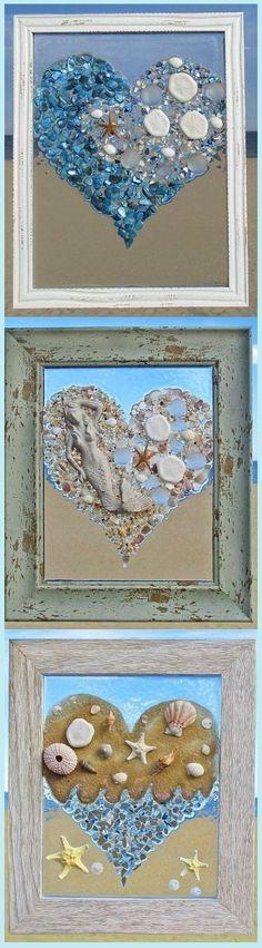 Unique beach window art by Luminosities! Made of sea glass, shells, gems, sand dollars, starfish, mermaid, wave, ocean scenes.