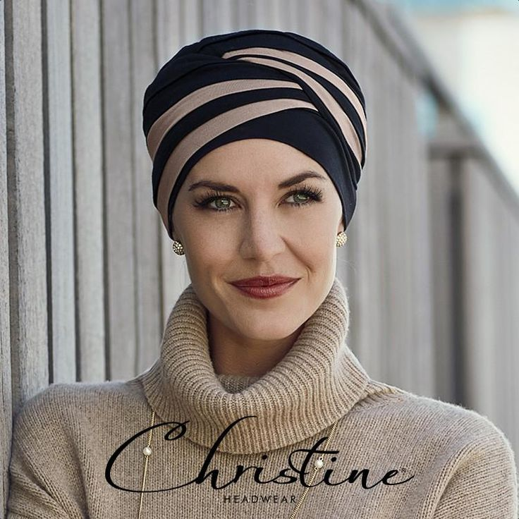 Super stylish hairloss turban made from soft bamboo with unusual 2 colour combination. Turbans are so easy to wear; simply pull onto the head and arrange gather