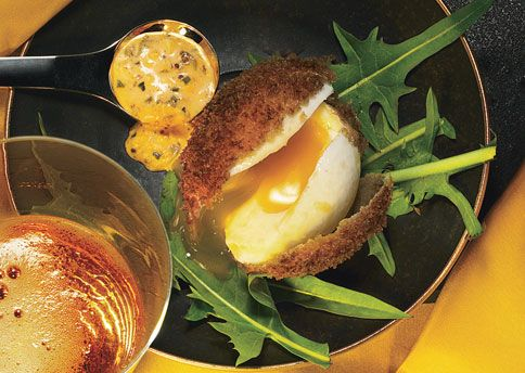 Deep-Fried Eggs with Sriracha Remoulade  Jeremy Fox, chef at Ubuntu restaurant in Napa, California, developed this dish, which is a perfect appetizer for a fancy brunch.