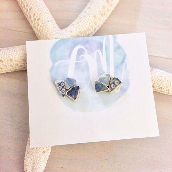 Sea Pottery Stud Earrings - Beach Pottery - Ocean Stud Earrings - Beach Stud Earrings - Blue and White China Jewelry - Genuine Sea Pottery