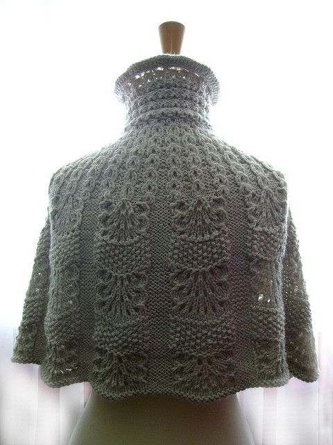 Knitted capelet / cape / poncho in a shade of light linen 2 by VitalTemptation , Etsy, via Flickr