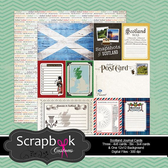 Scotland Journal Cards. Digital Scrapbooking. Project Life. Instant Download.