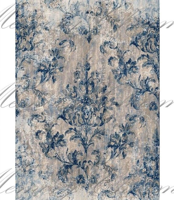 Grunge Damask Blue ATC Digital Collage Sheet - Buy 3 sheets and get 4th FREE - Printable Download