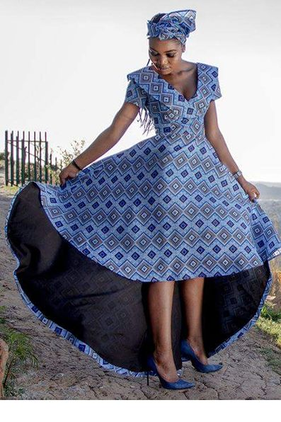 Khosi Nkosi Blue Shweshwe Design ~DKK ~African fashion, Ankara, kitenge, African women dresses, African prints, African men's fashion, Nigerian style, Ghanaian fashion.