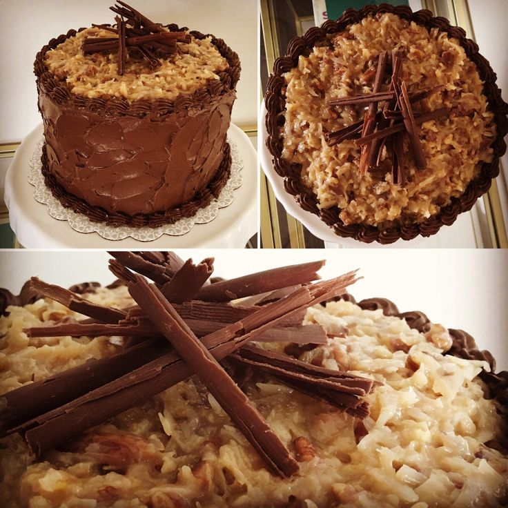 German's chocolate cake I made for my aunt's birthday! Buttercream on the sides